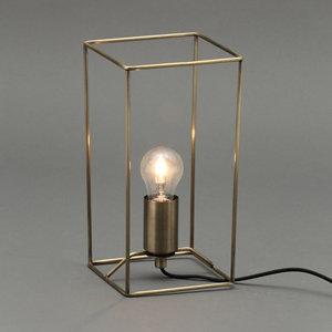 Inlight Jules Wire Matt Antique brass effect Rectangular Table lamp