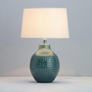 Image of Ananke Embossed ceramic Green Table light