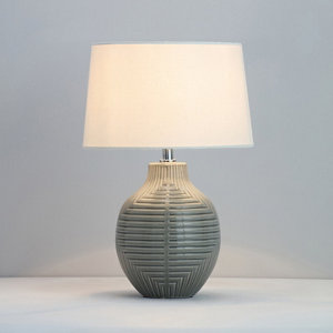 Image of Ananke Embossed ceramic Grey Table light