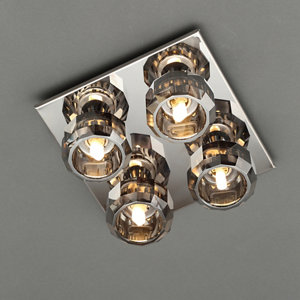 Image of Allyn Brushed Black Chrome effect 4 Lamp Ceiling light