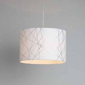Image of Carme White Silver effect Drum shade Light shade (D)300mm