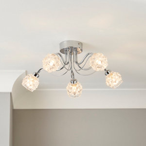 Image of Axis Transparent Chrome effect 5 Lamp Bathroom Ceiling light