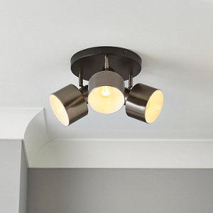 Image of Aurora Pewter & black Gun metal effect Mains-powered 3 lamp Spotlight