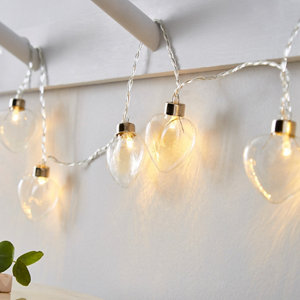 Image of Inlight Clear glass heart Battery-powered Warm white 10 LED Indoor String lights