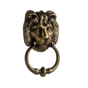 Image of The House Nameplate Company Brass effect Metal Lion Door knocker