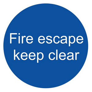 Image of Fire escape keep clear Fire information sign (H)100mm (W)100mm