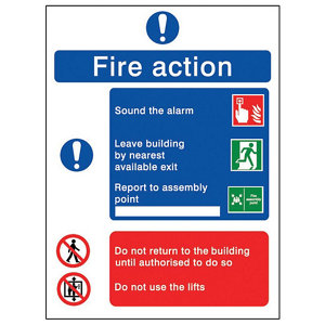Image of Fire action Fire information sign (H)200mm (W)150mm