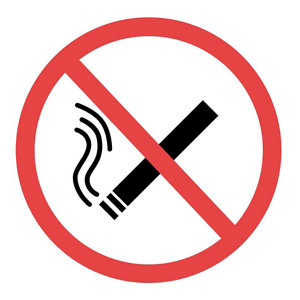 Image of No smoking Self-adhesive labels (H)100mm (W)100mm