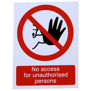 Image of No access for unauthorise persons Self-adhesive labels (H)200mm (W)150mm