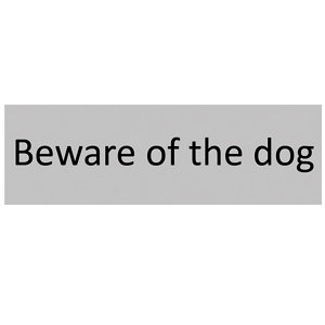 Image of Beware of the dog Self-adhesive labels (H)50mm (W)150mm