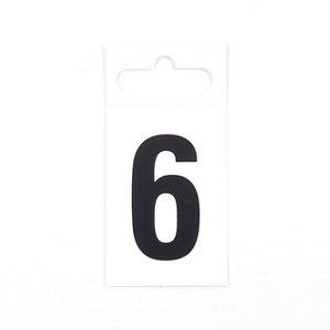 Image of Black & white Plastic Self-adhesive Door number 6 (H)50mm (W)30mm