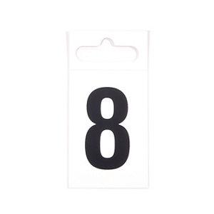 Image of Black & white Plastic Self-adhesive Door number 8 (H)50mm (W)30mm