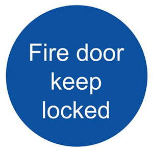 Image of Fire door keep locked Fire information sign (H)100mm (W)100mm