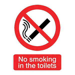 Image of No smoking in the toilets Self-adhesive labels (H)200mm (W)150mm