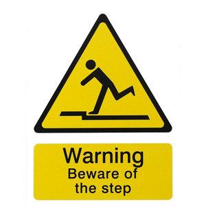Image of Danger beware of step Self-adhesive labels (H)200mm (W)150mm