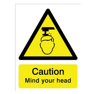 Image of Caution mind your head Self-adhesive labels (H)200mm (W)150mm