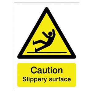 Image of Caution slippery surface Self-adhesive labels (H)200mm (W)150mm