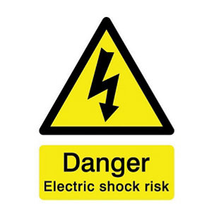 Image of Danger electric shock risk Self-adhesive labels (H)200mm (W)150mm