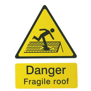 Image of Danger fragile roof Self-adhesive labels (H)200mm (W)150mm