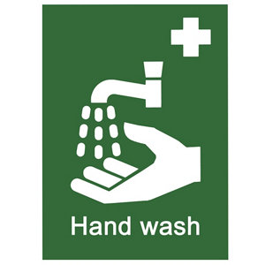 Image of Wash hands Self-adhesive labels (H)200mm (W)150mm