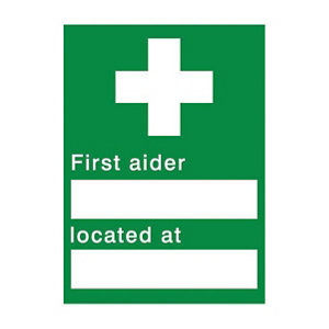 Image of First aider located Self-adhesive labels (H)200mm (W)150mm