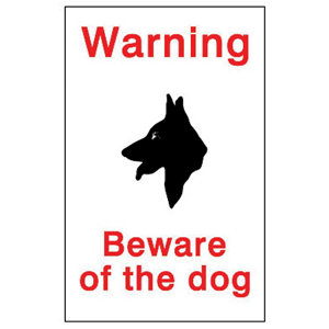 Image of Beware of the dog Self-adhesive labels (H)150mm (W)100mm