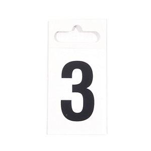 Image of Black & white Plastic Self-adhesive Door number 3 (H)50mm (W)30mm