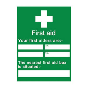 Image of Your first aiders are Self-adhesive labels (H)200mm (W)150mm