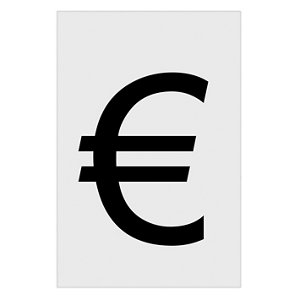 Image of Euro symbol Black & White Self-adhesive labels (H)60mm (W)40mm