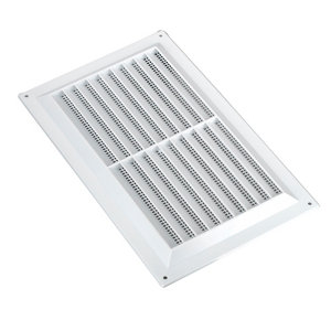 Image of Manrose White Rectangular Applications requiring low extraction rates Fixed louvre vent & Fly screen (H)152mm (W)229mm