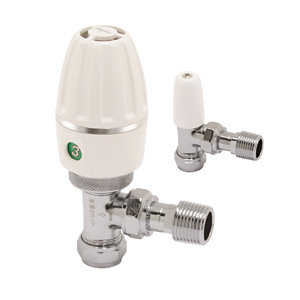 Terrier 3 White Thermostatic Radiator valve