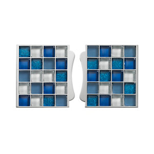 Image of Sassi Blue Glass effect Glass Mosaic tile (L)87mm (W)79mm