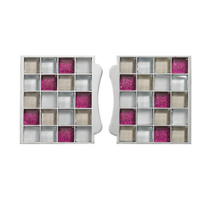 Image of Sassi Pink Glass effect Glass Mosaic tile (L)87mm (W)79mm