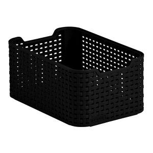 Image of Black rattan effect 7L Plastic Storage basket (H)130mm (W)190mm