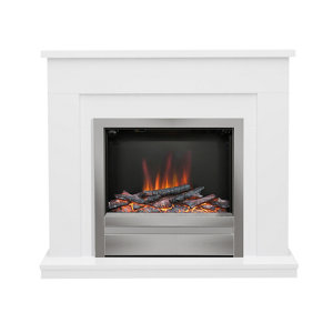 Image of Be Modern Alder White Chrome effect Electric Fire suite