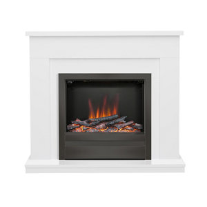 Image of Be Modern Alder White & black Nickel effect Electric Fire suite