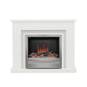 Image of Be Modern Alena White Chrome effect Electric Fire suite
