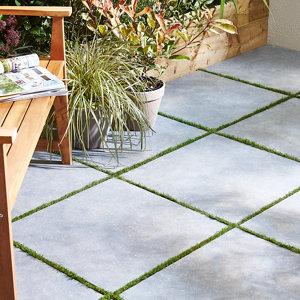 Image of Belgium Anthracite Matt Stone effect Porcelain Outdoor Floor tile Pack of 2 (L)600mm (W)600mm