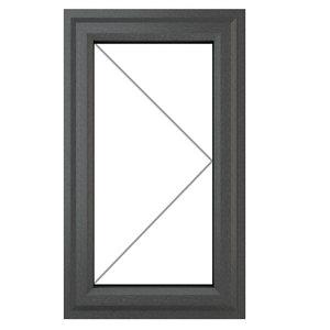GoodHome Clear Double glazed Grey uPVC RH Window  (H)1040mm (W)610mm