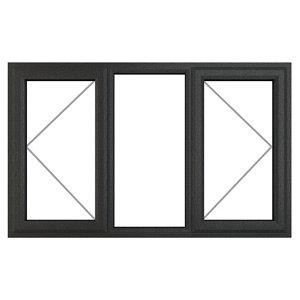 Image of GoodHome Clear Double glazed Grey uPVC LH Window (H)1115mm (W)1770mm