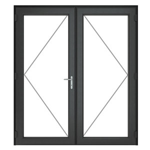 Image of GoodHome Clear Double glazed Grey uPVC External Patio door & frame (H)2090mm (W)1790mm