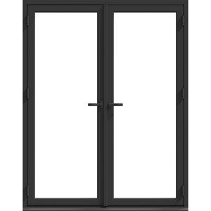 Image of GoodHome Clear Double glazed Grey Aluminium External French Patio door & frame (H)2090mm (W)1190mm