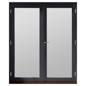 Image of GoodHome Clear Double glazed Grey Hardwood Reversible Patio door & frame (H)2094mm (W)1794mm