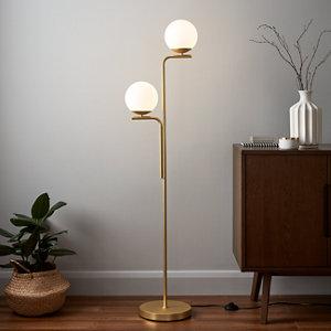 Image of GoodHome Baldaz Brushed Brass effect Floor light