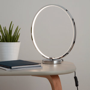 Image of GoodHome Annelus Chrome effect LED Table light