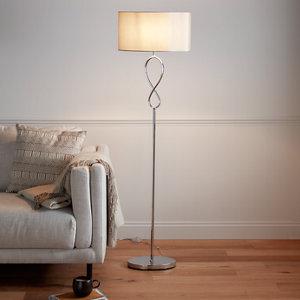 Image of GoodHome Carnavon Light grey Chrome effect Floor light