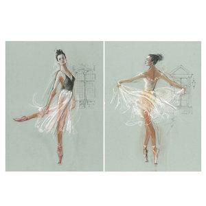 Image of Ballerina Multicolour Canvas art Set of 2 (H)770mm (W)570mm