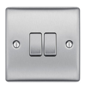 Image of British General 10A 2 way Brushed stainless steel effect Double Light Switch