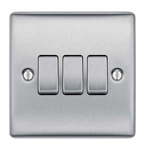 Image of British General 10A 2 way Brushed stainless steel effect Triple Light Switch