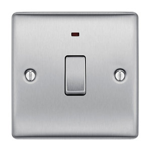 Image of British General 20A Brushed stainless steel effect Single Switch
